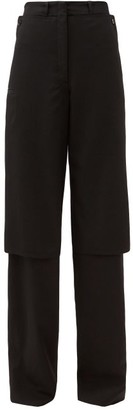 Lemaire Double-layer Wide-leg Wool-gabardine Trousers - Black