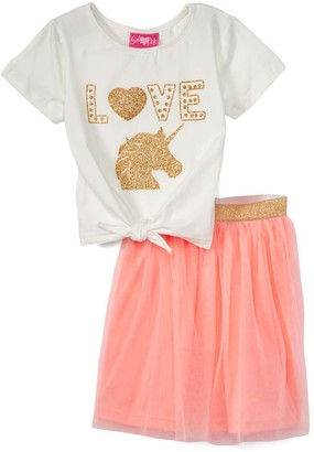 Girls Luv Pink Girls' Casual Skirts peach - White Glitter Tie-Front Tee & Peach Toole-Overlay Skirt - Toddler