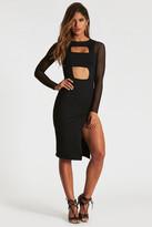 Donna Mizani Banded Cut Out Midi Slit Dress