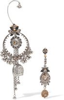 Alexander McQueen Silver And Gold-tone Swarovski Crystal Earrings - one size