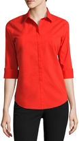 WORTHINGTON Worthington 3/4-Sleeve Button-Front Shirt