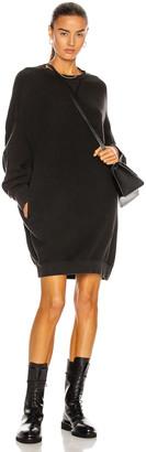 R 13 Grunge Sweatshirt Dress in Sand Washed Black | FWRD