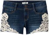 Mudd Girls 7-16 & Plus Size Crochet Trim Dark Wash Jean Shorts