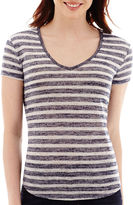 JCPenney A.N.A a.n.a Striped Short-Sleeve V-Neck T-Shirt