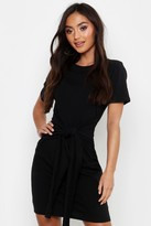 boohoo Petite Tie Waist T-Shirt Dress