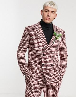 Asos Design DESIGN wedding slim double breasted suit jacket with large houndstooth in burgundy wool blend-Red