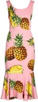 Dolce & Gabbana Pineapple-print ruffled-hem charmeuse dress
