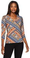 Ruby Rd. Women's Plus Size Embellished Mock-Surplice Diagonal Patchwork Printed Top