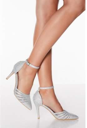 Quiz Silver Diamante Strappy High Heel Court Shoes