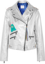 Mira Mikati Painted Metallic Leather Biker Jacket - Silver