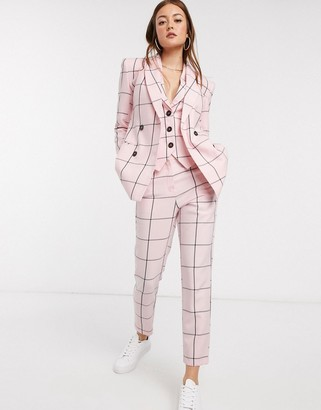 ASOS DESIGN slim suit pants in pink grid check
