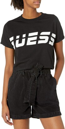 GUESS Women's Active Short Sleeve Crew Neck Cropped T-Shirt