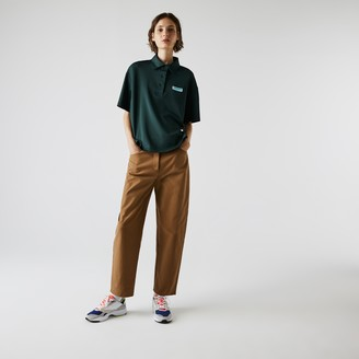 Lacoste Women's LIVE Loose Fit Badge Flowing Knit Polo Shirt