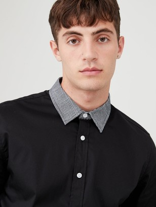 Very Houndstooth Collar Shirt - Black