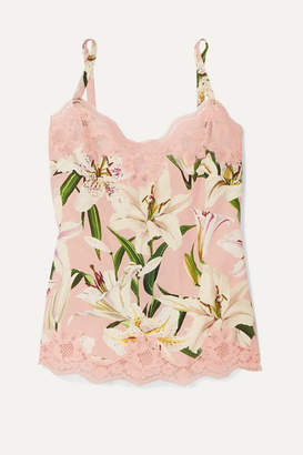 Dolce & Gabbana Lace-trimmed Floral-print Silk-blend Camisole - Blush