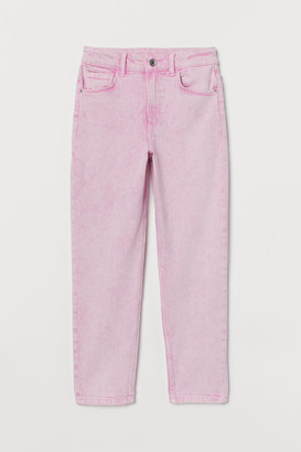 H&M Relaxed Fit Ankle Jeans - Pink