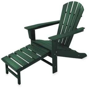 Polywood South Beach Ultimate Adirondack Chair with Ottoman in Green