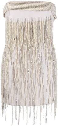 The Attico Strapless Embellished Mini Dress