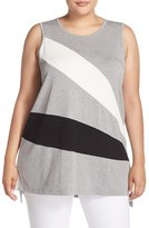 Vince Camuto Plus Size Women's Colorblock Sleeveless Split Back Top