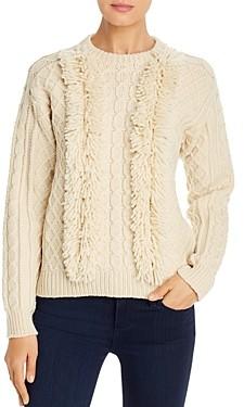 Tory Burch Fringe Trimmed Wool Sweater
