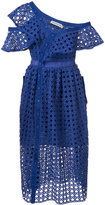 Self-Portrait lace-embroidered flared dress - women - Polyester - 6