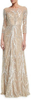 David Meister 3/4-Sleeve Illusion-Neck Beaded Gown