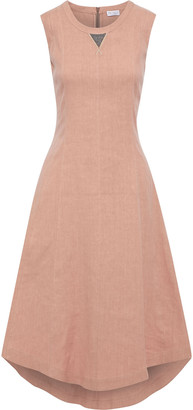 Brunello Cucinelli Asymmetric Bead-embellished Linen-blend Midi Dress