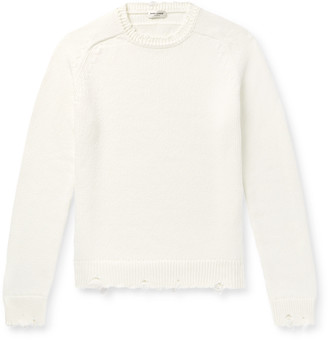 Saint Laurent Slim-fit Distressed Ribbed Cotton Sweater - Neutrals
