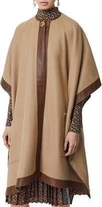 Burberry Pyecomb Cashmere Leather-Trim Cape