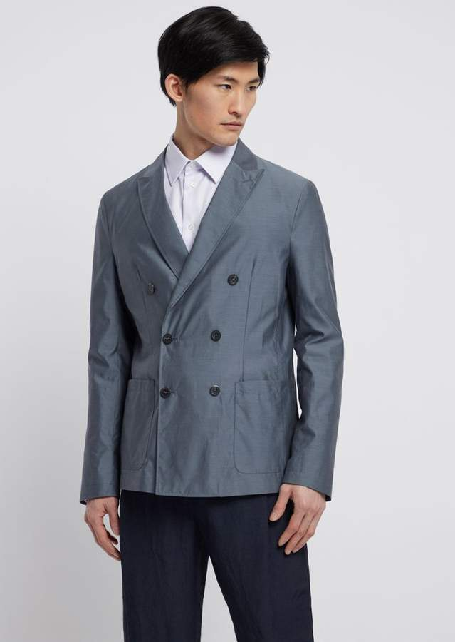 ea664f7943 Double-Breasted Jacket In Water-Repellent Silk And Wool