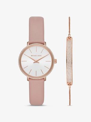 Michael Kors Mini Pyper Rose Gold-Tone Watch and Slider Bracelet Set
