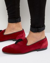 Asos Tassel Loafer In Burgundy Velvet