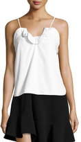 Carven Cotton Poplin Ruffle-Trim Tank, White