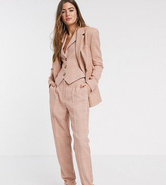 Asos Tall ASOS DESIGN Tall exaggerated tapered suit pants in red POW check