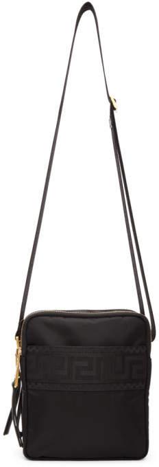 Versace Black Greek Cross Messenger Bag