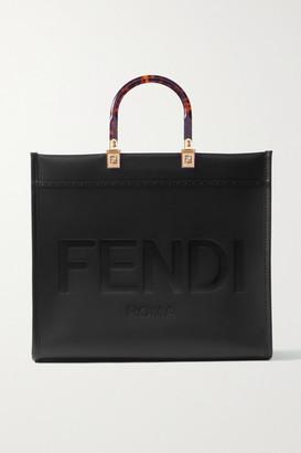 Fendi Sunshine Medium Debossed Leather Tote - Black