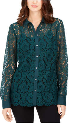 Charter Club Lace Button-Down Top