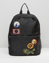 Asos Backpack With Souvenir Badges In Black
