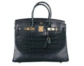 Hermes pristine (PR 35cm Vert Fonce Alligator Birkin Bag with Gold Hardware