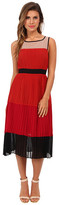 ABS by Allen Schwartz Color Blocked Pleated Chiffon Dress