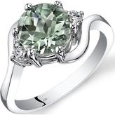 Ice 1 6/7 CT TW Green Amethyst 14K White Gold 3-Stone Ring with Diamond Accents
