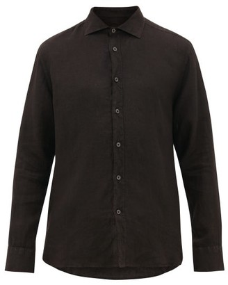120% Lino Spread-collar Linen-poplin Shirt - Mens - Black