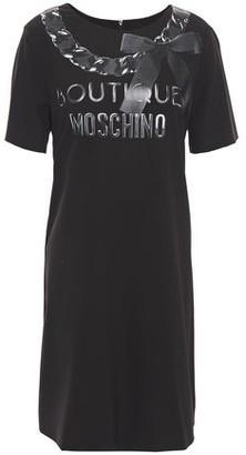 Boutique Moschino Metallic Logo-print Stretch-crepe Mini Dress