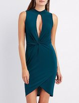 Charlotte Russe Mock Neck Knotted Wrap Dress