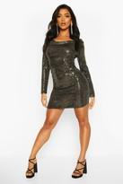 boohoo Cowl Neck All Over Sequin Bodycon Mini Dress