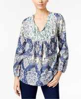 Style&Co. Style & Co. Printed Peasant Top, Only at Macy's