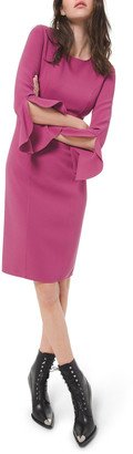 Michael Kors Collection Crepe Ruffle-Sleeve 3/4-Sleeve Dress