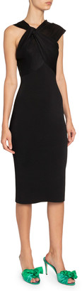 Victoria Beckham Asymmetric Twisted-Neck Dress