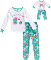 Dollie & Me Ivory & Mint 'Friends' Pajama Set & Doll Outfit - Toddler & Girls