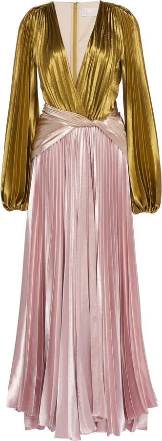 Peter Pilotto Two-Tone Plissé-Lamé Gown Size: 6